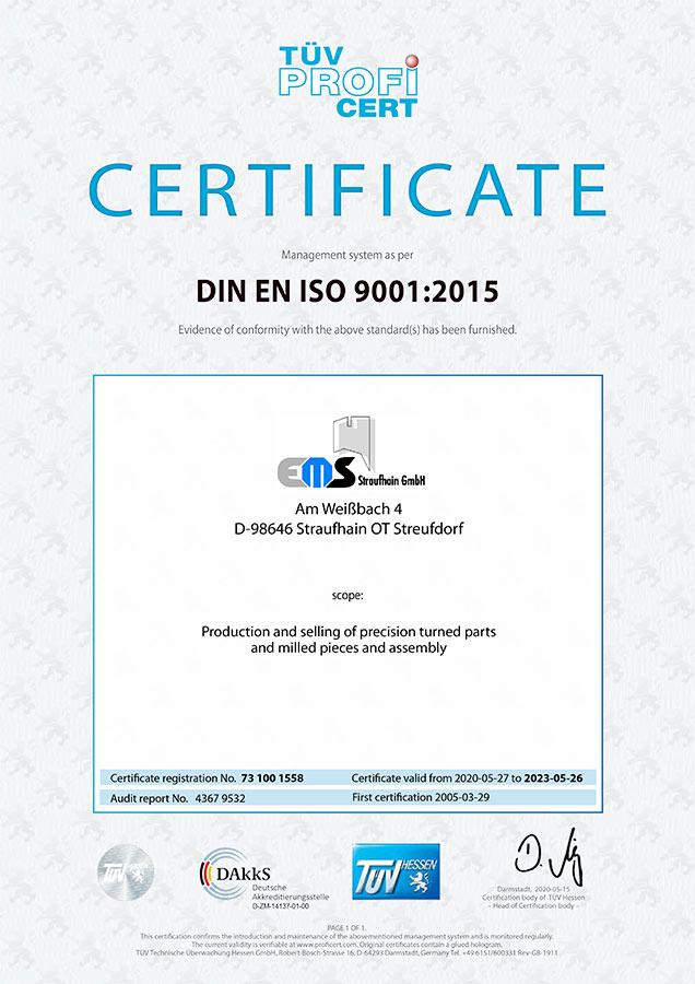 DIN EN ISO 9001:2015 Certificate