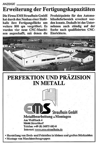 April 2006 – Erweiterung der Fertigungskapazitäten