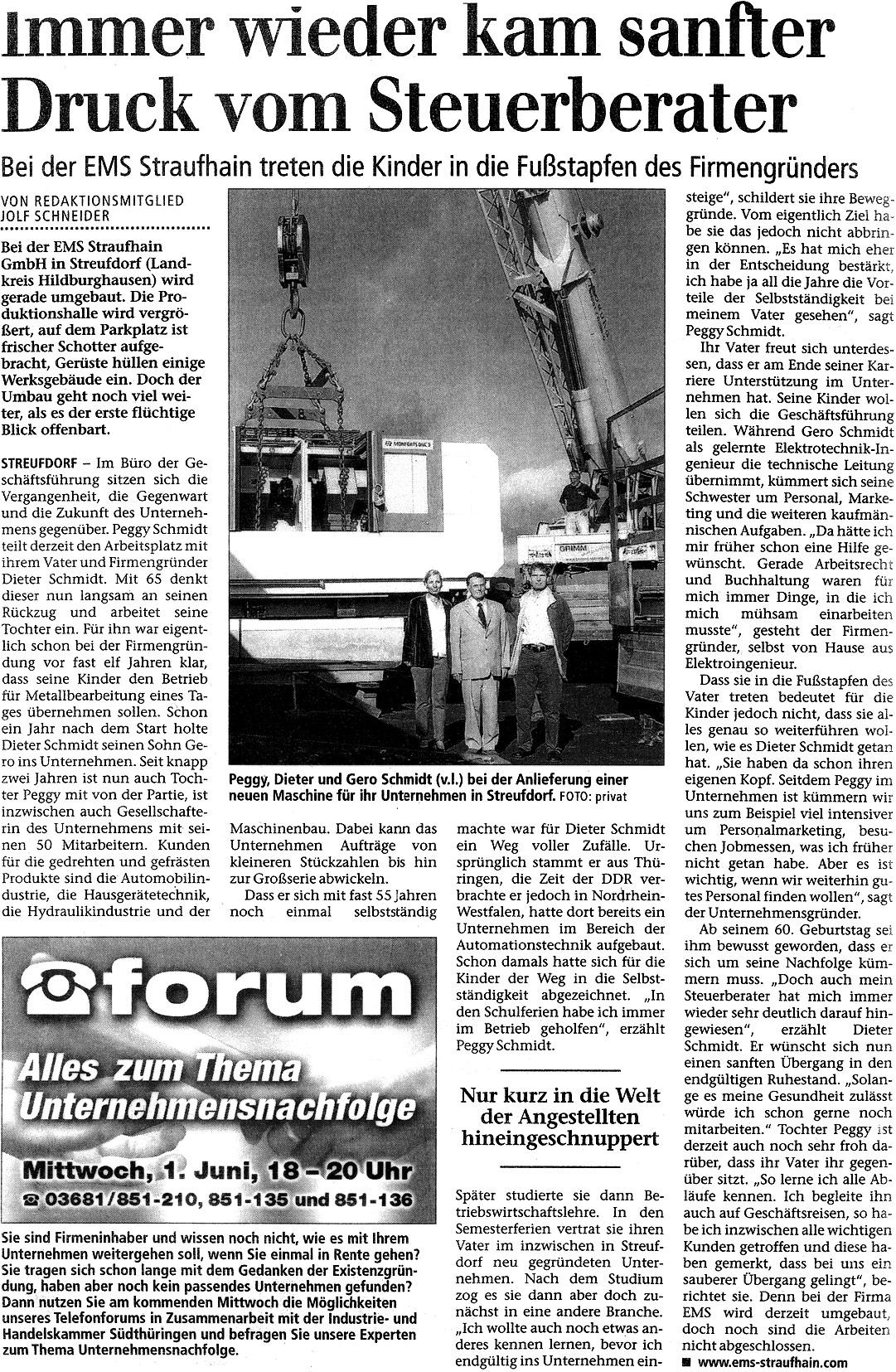 April 2005 – Immer wieder kam sanfter Druck vom Steuerberater