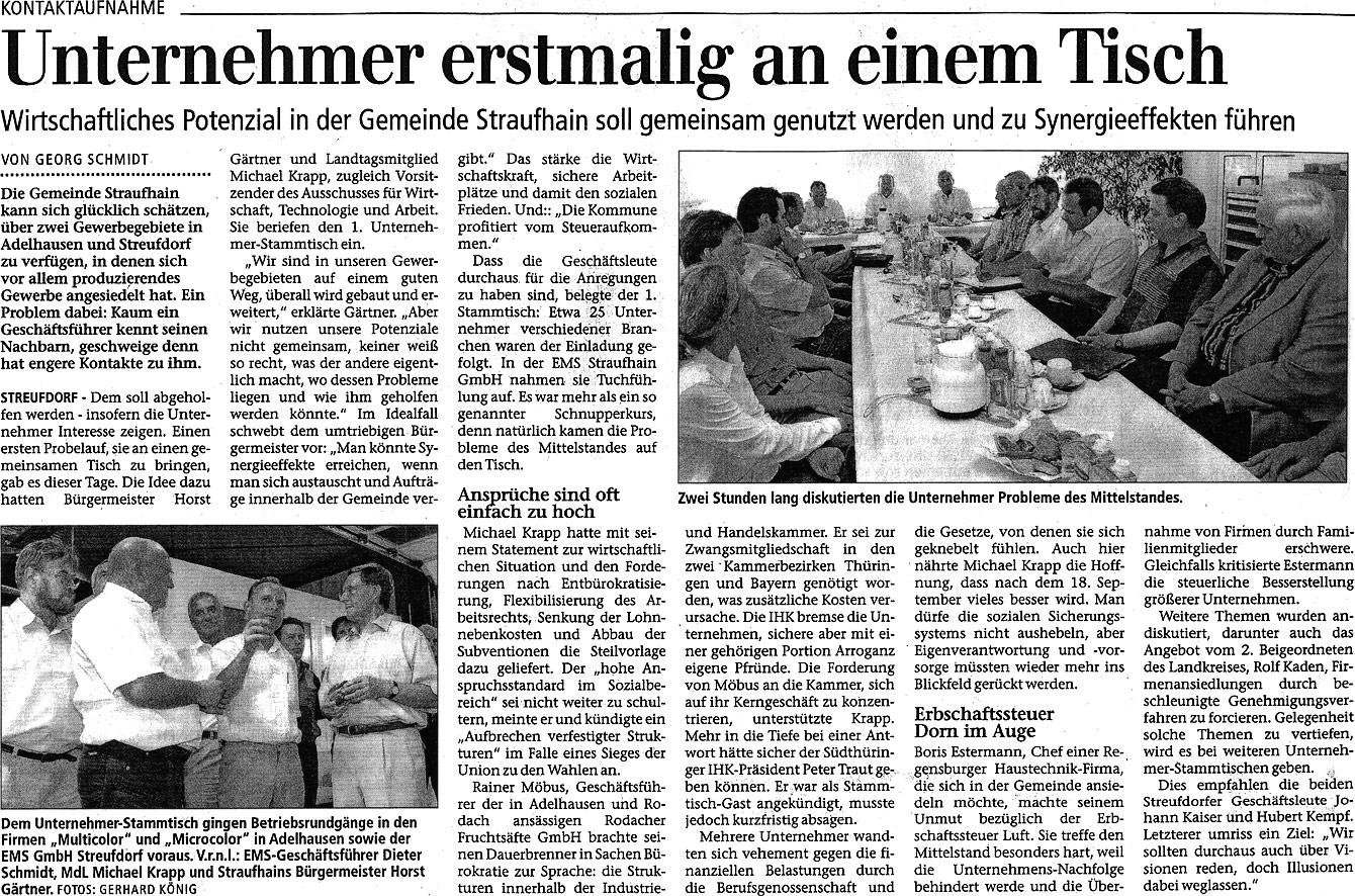Juni 2005 – Unternehmer erstmalig an einem Tisch