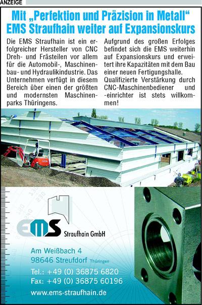 Mai 2008 – Anzeige zum Straufhaingipfel 2008 (15 Jahre Einheitsgemeinde Straufhain)
