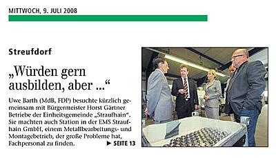 """Juli 2008 – Zeitungsartikel """"Freies Wort"""""""