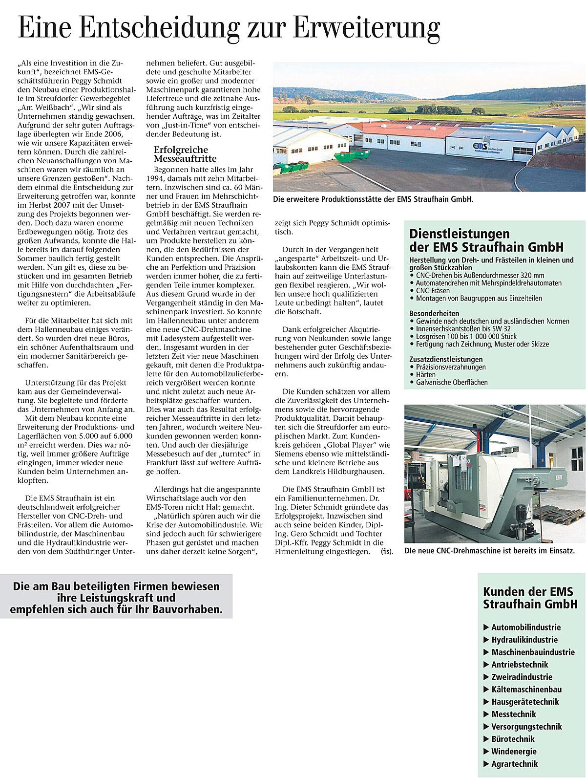 Dezember 2008 – Neue Produktionshalle eingeweiht