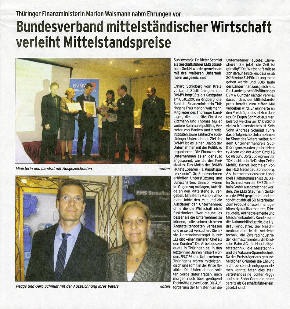 """Oktober 2010 – Zeitungsartikel """"DEUTSCHLANDtoday"""""""